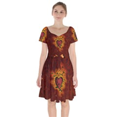 Beautiful Heart With Leaves Short Sleeve Bardot Dress