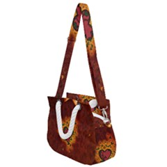 Beautiful Heart With Leaves Rope Handles Shoulder Strap Bag