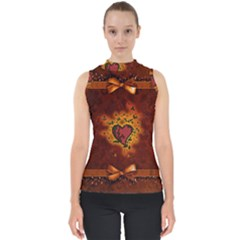 Beautiful Heart With Leaves Mock Neck Shell Top
