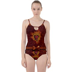 Beautiful Heart With Leaves Cut Out Top Tankini Set