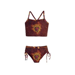 Beautiful Heart With Leaves Girls  Tankini Swimsuit