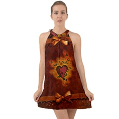 Beautiful Heart With Leaves Halter Tie Back Chiffon Dress
