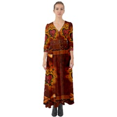 Beautiful Heart With Leaves Button Up Boho Maxi Dress