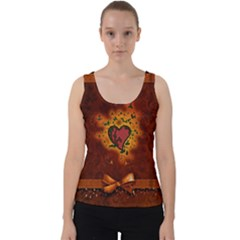 Beautiful Heart With Leaves Velvet Tank Top