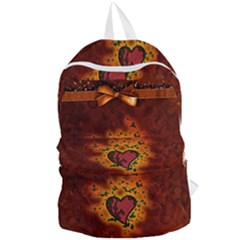 Beautiful Heart With Leaves Foldable Lightweight Backpack