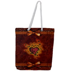 Beautiful Heart With Leaves Full Print Rope Handle Tote (Large)