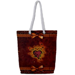 Beautiful Heart With Leaves Full Print Rope Handle Tote (Small)