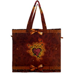Beautiful Heart With Leaves Canvas Travel Bag