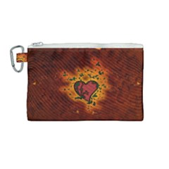 Beautiful Heart With Leaves Canvas Cosmetic Bag (Medium)