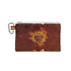 Beautiful Heart With Leaves Canvas Cosmetic Bag (Small)