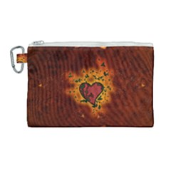 Beautiful Heart With Leaves Canvas Cosmetic Bag (Large)