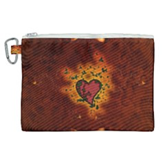 Beautiful Heart With Leaves Canvas Cosmetic Bag (XL)