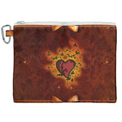 Beautiful Heart With Leaves Canvas Cosmetic Bag (XXL)