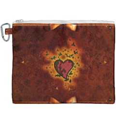 Beautiful Heart With Leaves Canvas Cosmetic Bag (xxxl)