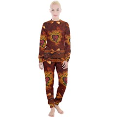Beautiful Heart With Leaves Women s Lounge Set