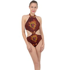Beautiful Heart With Leaves Halter Side Cut Swimsuit
