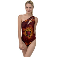 Beautiful Heart With Leaves To One Side Swimsuit