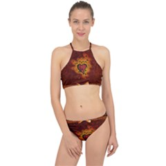 Beautiful Heart With Leaves Racer Front Bikini Set by FantasyWorld7