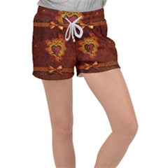 Beautiful Heart With Leaves Women s Velour Lounge Shorts
