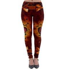 Beautiful Heart With Leaves Lightweight Velour Leggings