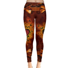 Beautiful Heart With Leaves Inside Out Leggings