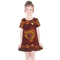 Beautiful Heart With Leaves Kids  Simple Cotton Dress