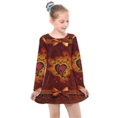 Beautiful Heart With Leaves Kids  Long Sleeve Dress
