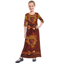 Beautiful Heart With Leaves Kids  Quarter Sleeve Maxi Dress