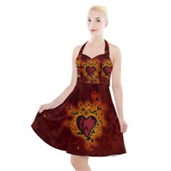 Beautiful Heart With Leaves Halter Party Swing Dress