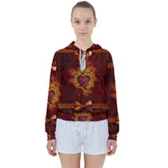 Beautiful Heart With Leaves Women s Tie Up Sweat
