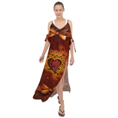Beautiful Heart With Leaves Maxi Chiffon Cover Up Dress