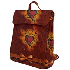 Beautiful Heart With Leaves Flap Top Backpack