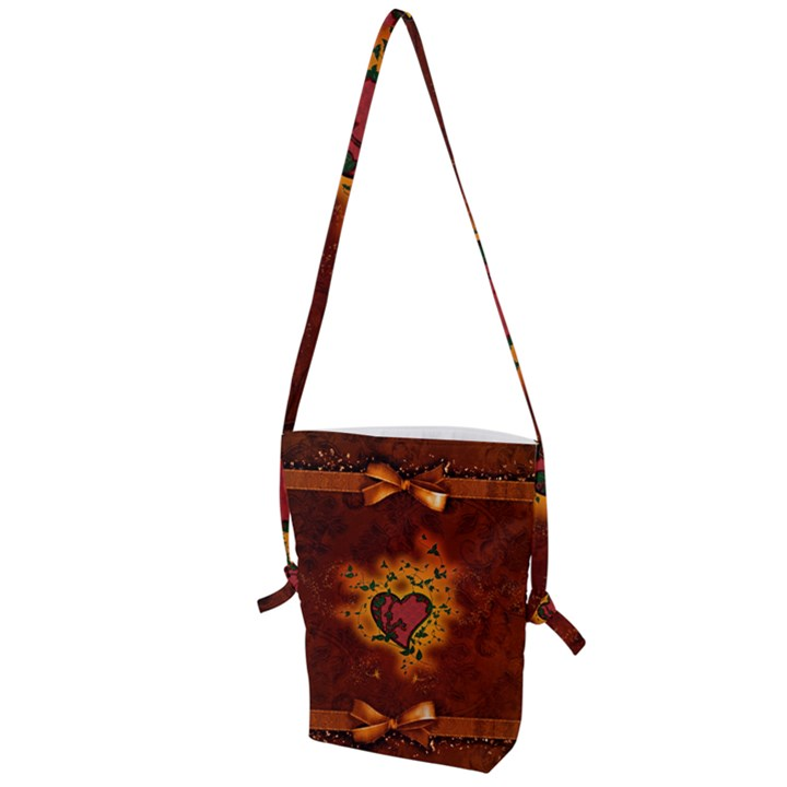 Beautiful Heart With Leaves Folding Shoulder Bag