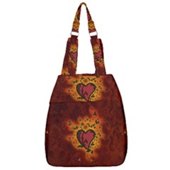 Beautiful Heart With Leaves Center Zip Backpack by FantasyWorld7