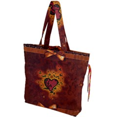 Beautiful Heart With Leaves Drawstring Tote Bag