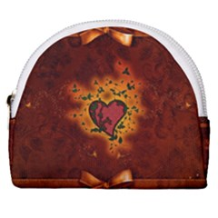 Beautiful Heart With Leaves Horseshoe Style Canvas Pouch