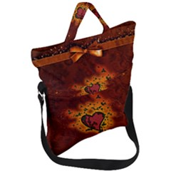 Beautiful Heart With Leaves Fold Over Handle Tote Bag
