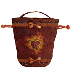 Beautiful Heart With Leaves Drawstring Bucket Bag