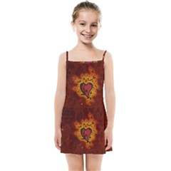 Beautiful Heart With Leaves Kids  Summer Sun Dress