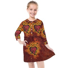 Beautiful Heart With Leaves Kids  Quarter Sleeve Shirt Dress