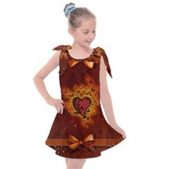 Beautiful Heart With Leaves Kids  Tie Up Tunic Dress