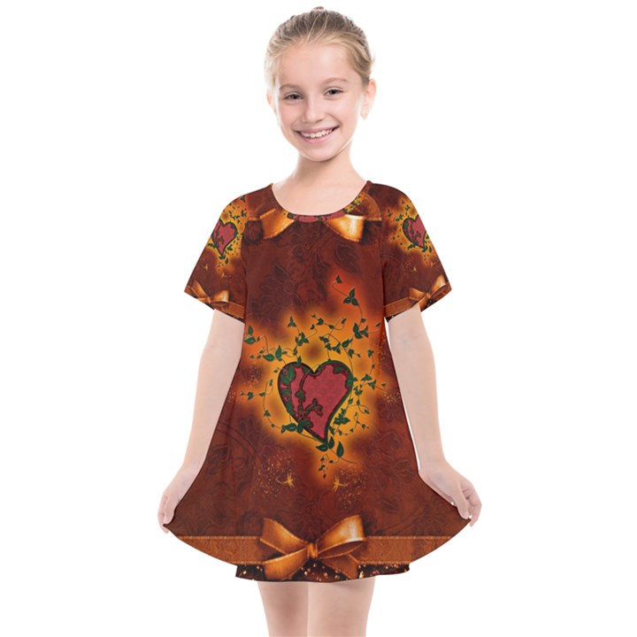 Beautiful Heart With Leaves Kids  Smock Dress