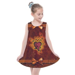 Beautiful Heart With Leaves Kids  Summer Dress