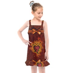 Beautiful Heart With Leaves Kids  Overall Dress