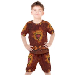 Beautiful Heart With Leaves Kids  Tee and Shorts Set