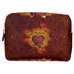 Beautiful Heart With Leaves Make Up Pouch (Medium)