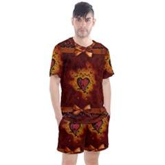 Beautiful Heart With Leaves Men s Mesh Tee and Shorts Set