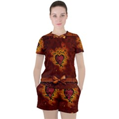 Beautiful Heart With Leaves Women s Tee and Shorts Set