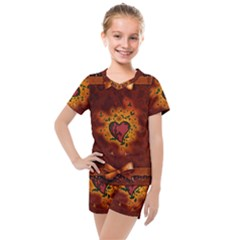 Beautiful Heart With Leaves Kids  Mesh Tee and Shorts Set