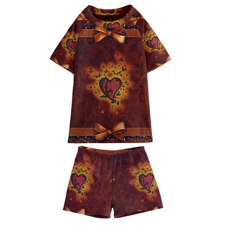 Beautiful Heart With Leaves Kids  Swim Tee and Shorts Set